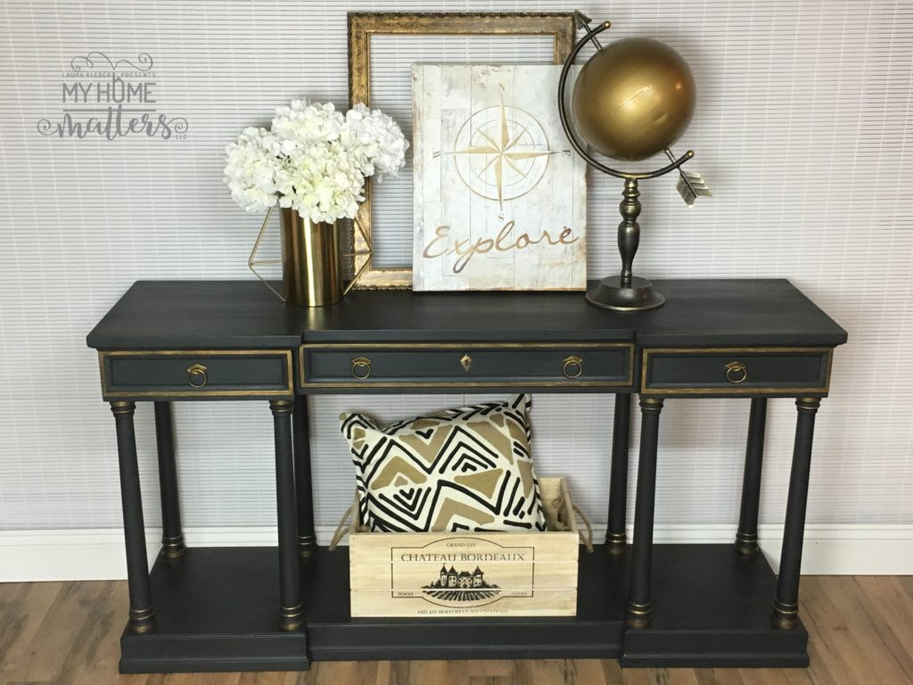 Console table - black & gold looking down-63745