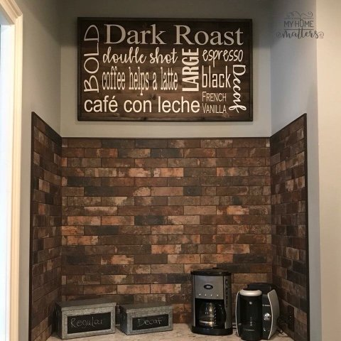 Espresso background with Black Gel Stain frame and white lettering - all types of fonts used on this one!