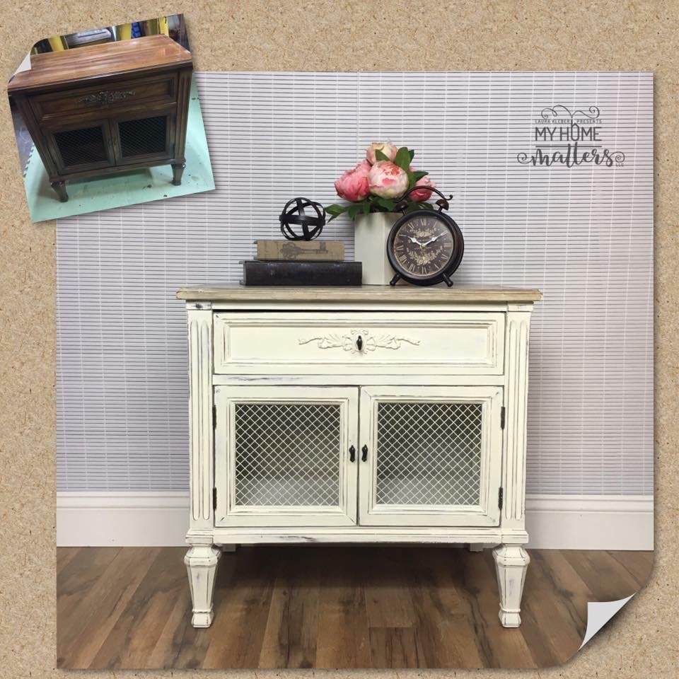 Side table with chicken wire