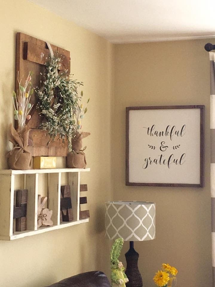 repurposed ladder used as wall decoration in living room, farmhouse sign and farmhouse decor