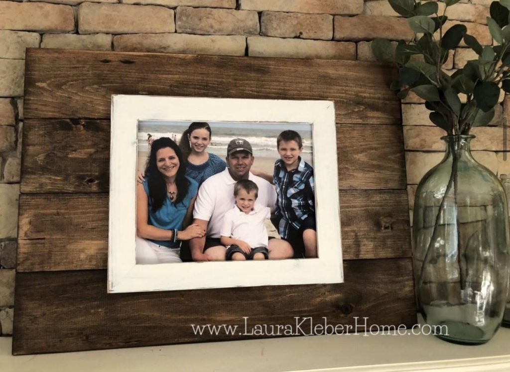 planked wooden sign with photo frame for 8x10 family photo