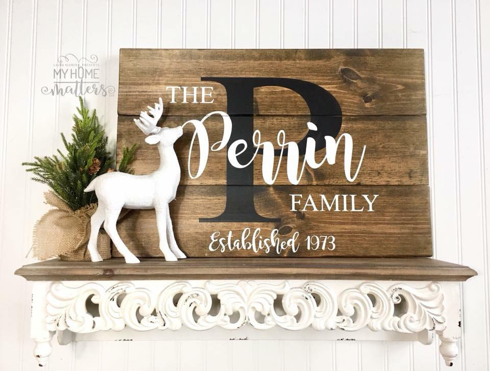 planked wooden sign personalized with last name and established date