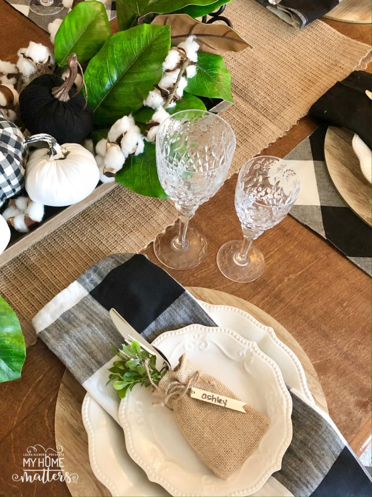 to show buffalo check decorations on a dining table