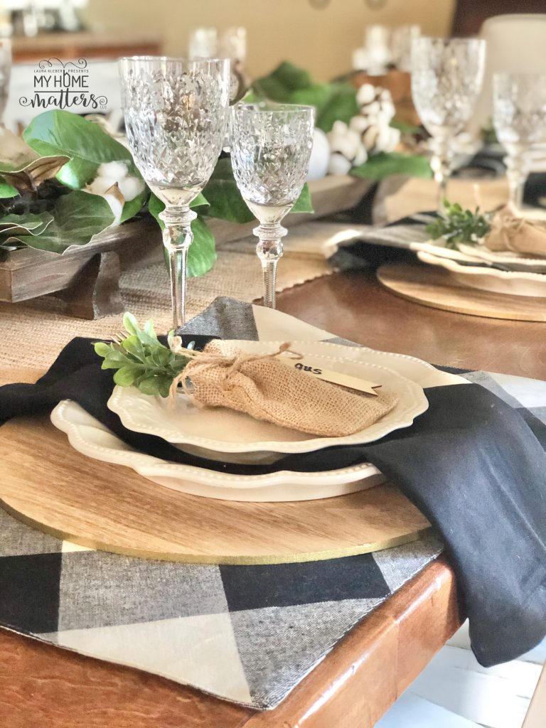 to show how to use buffalo check when decorating a dining table