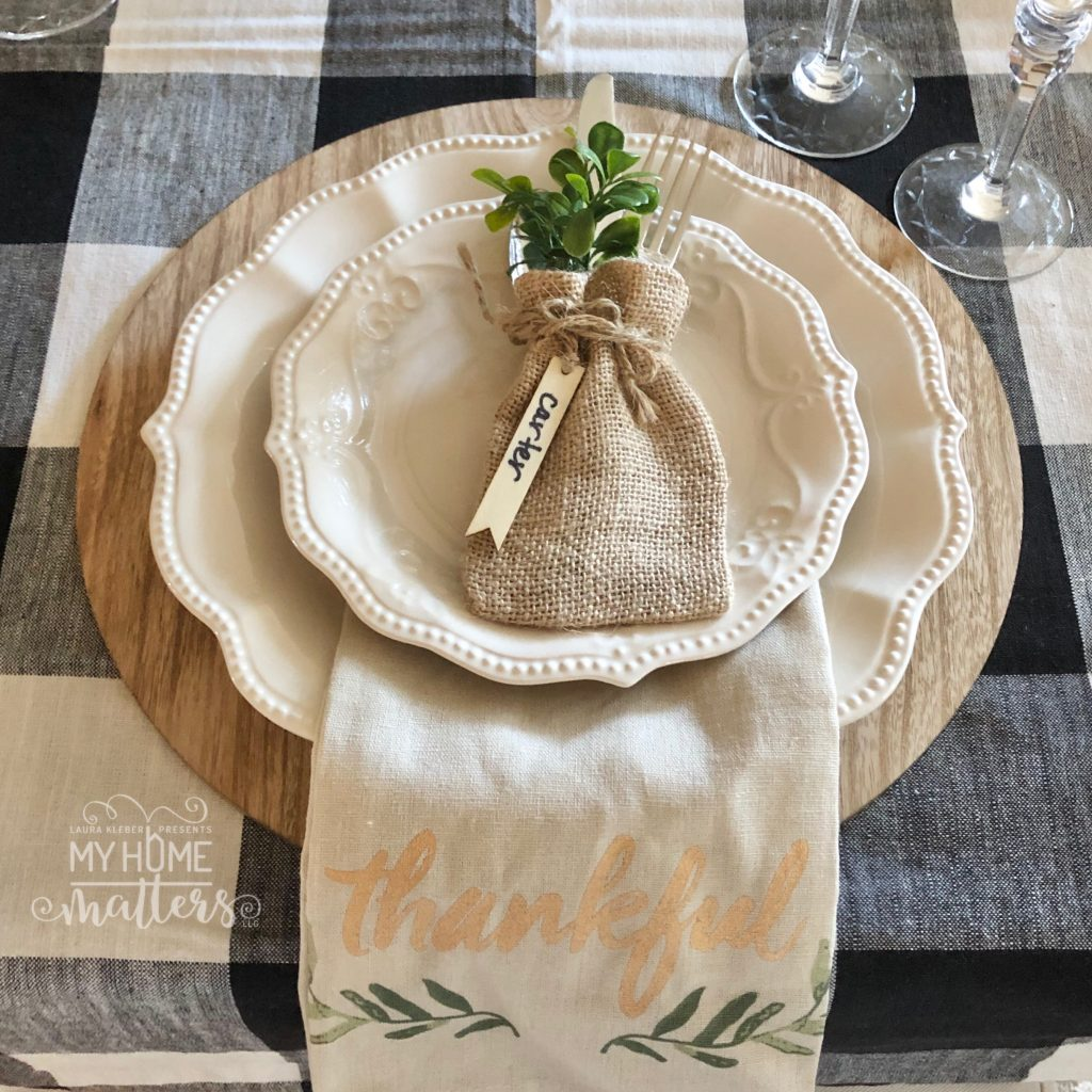 to show decorating a table using a buffalo check table cloth