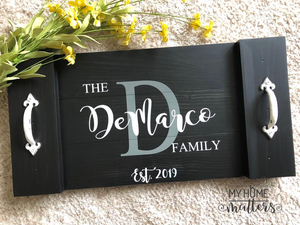Planked wooden tray personalized with last name and established date