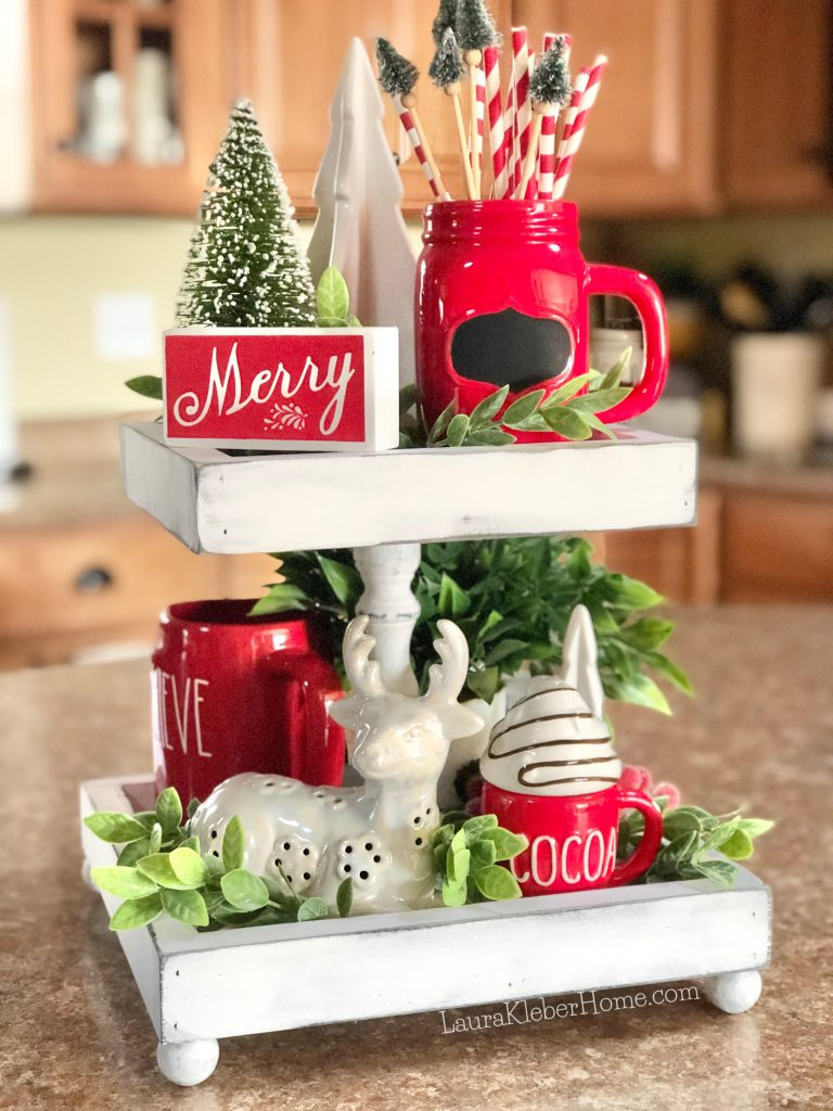 Christmas tiered tray in red and white