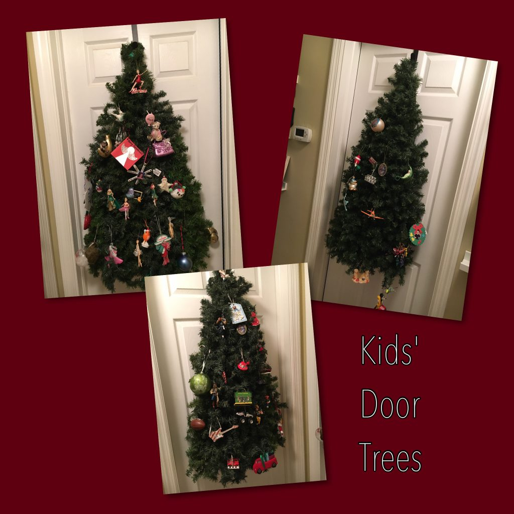 kids christmas trees that hang on a door