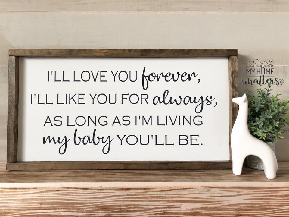 framed wooden sign personalized with baby saying