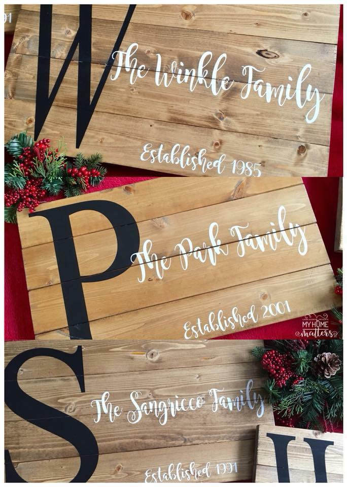 three planked wooden signs personalized with last name and established dates