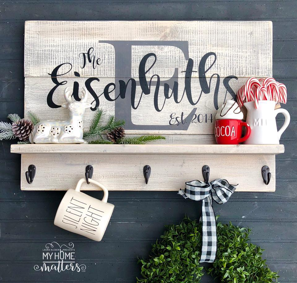 wooden shelf sign personalized with last name and wedding date