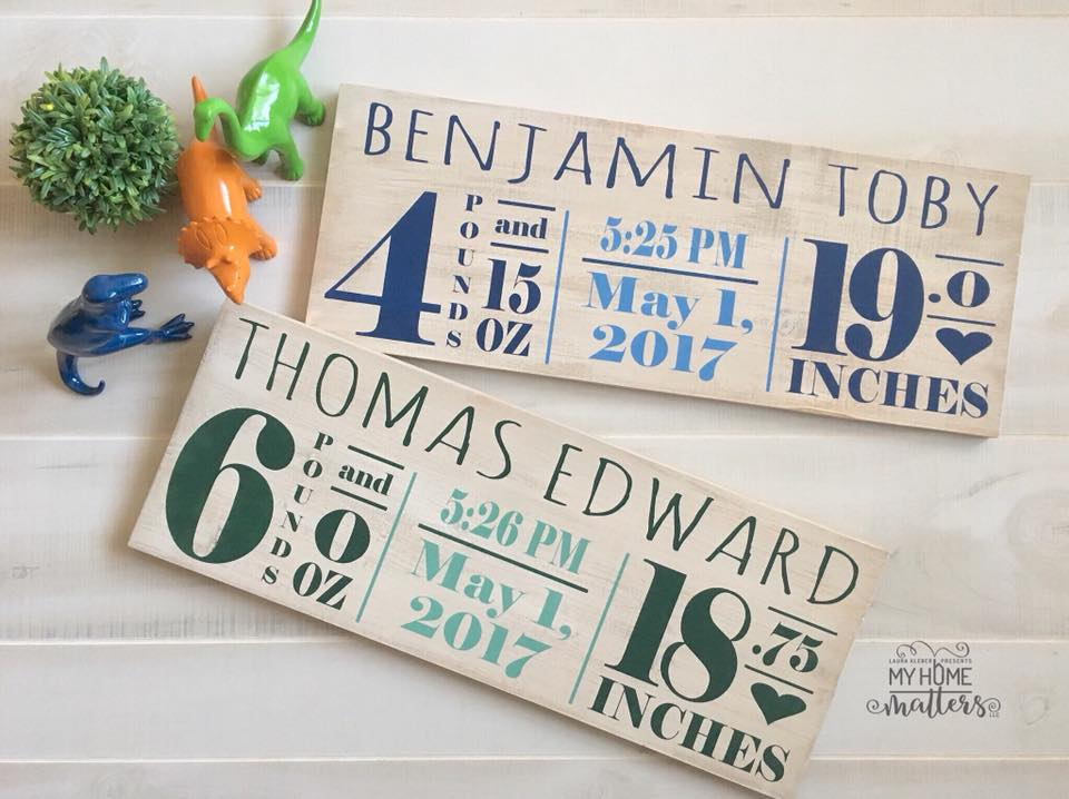 wooden signs personalized with baby birth details