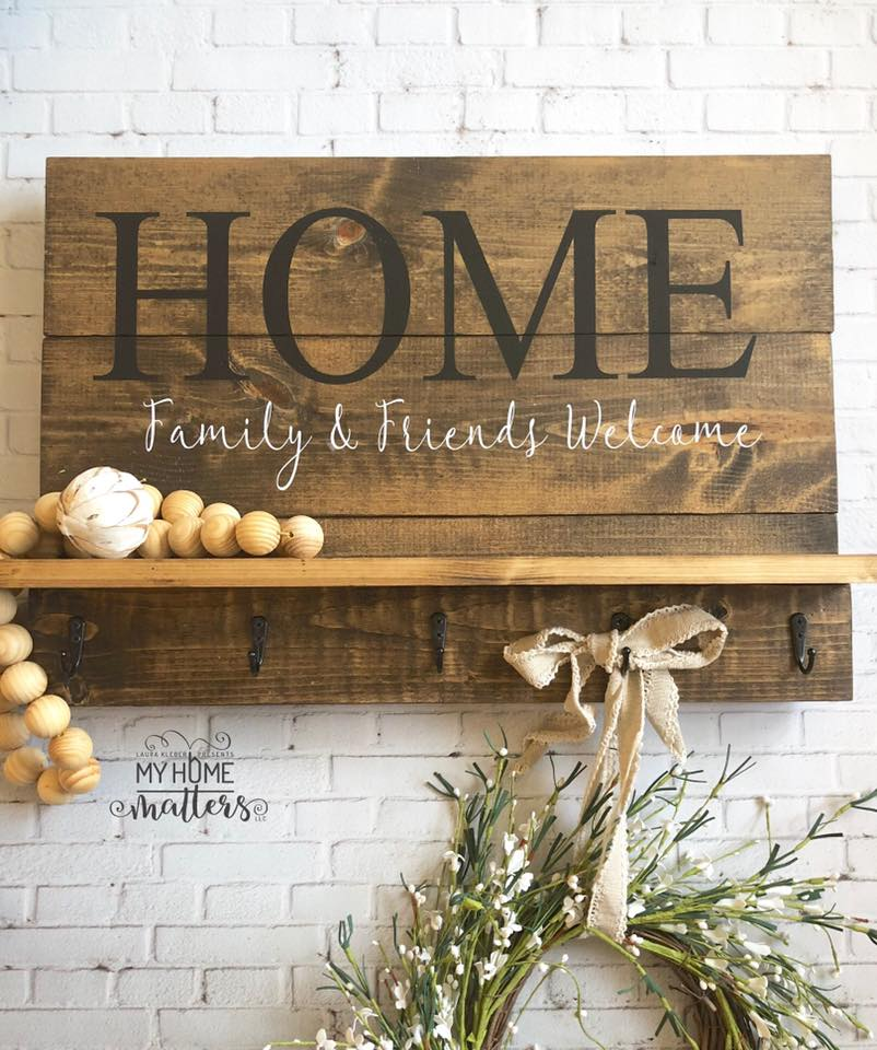 wooden shelf sign personalized with HOME saying