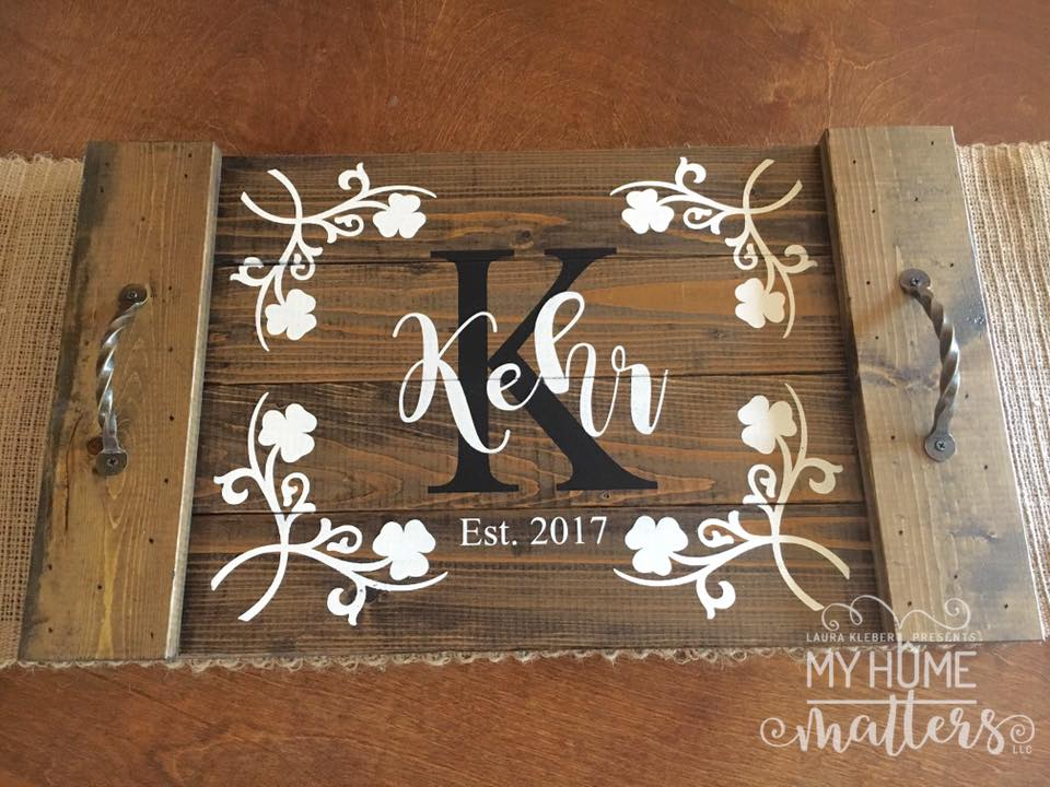 planked wooden tray personalized with last name and Irish shamrocks