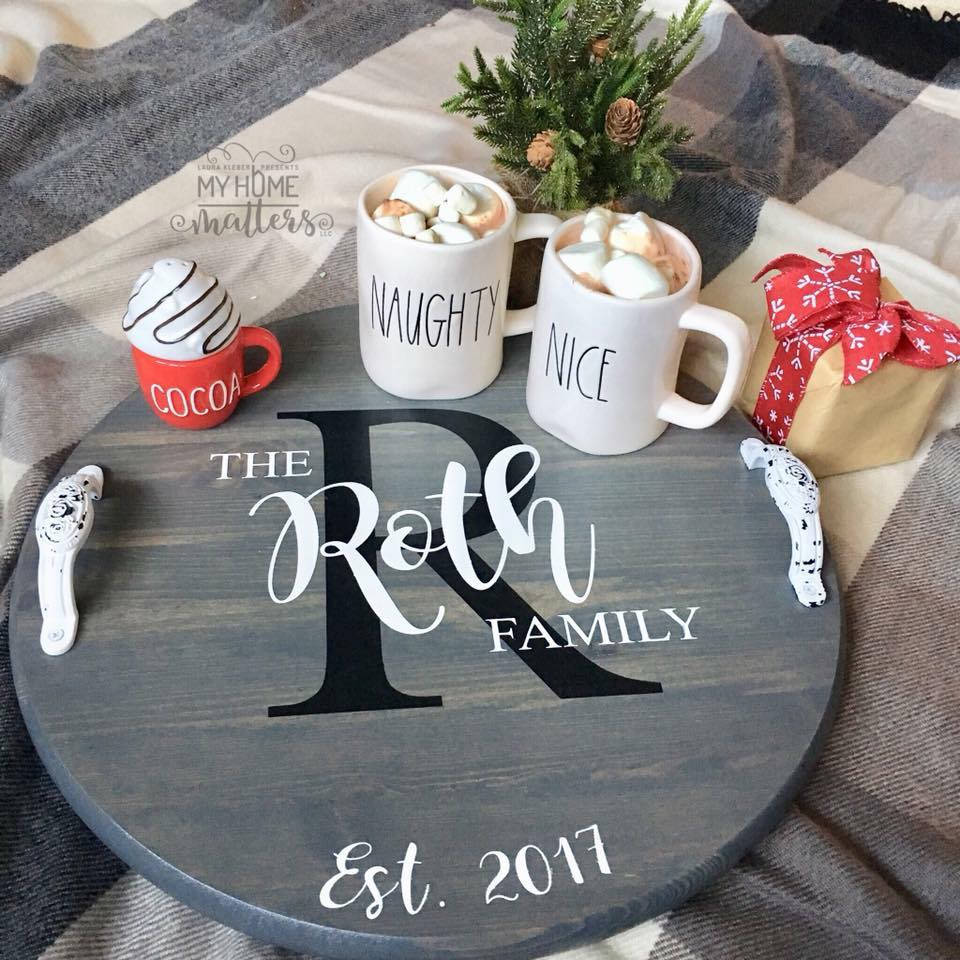 round wooden tray personalized with family name