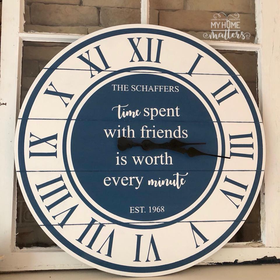 round wooden clock personalized with saying about friendship