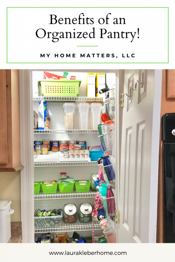 Pinterest pin graphic looking into a pantry from a kitchen