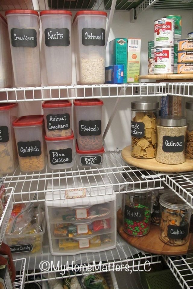 rubbermaid containers neatly organizing pantry food