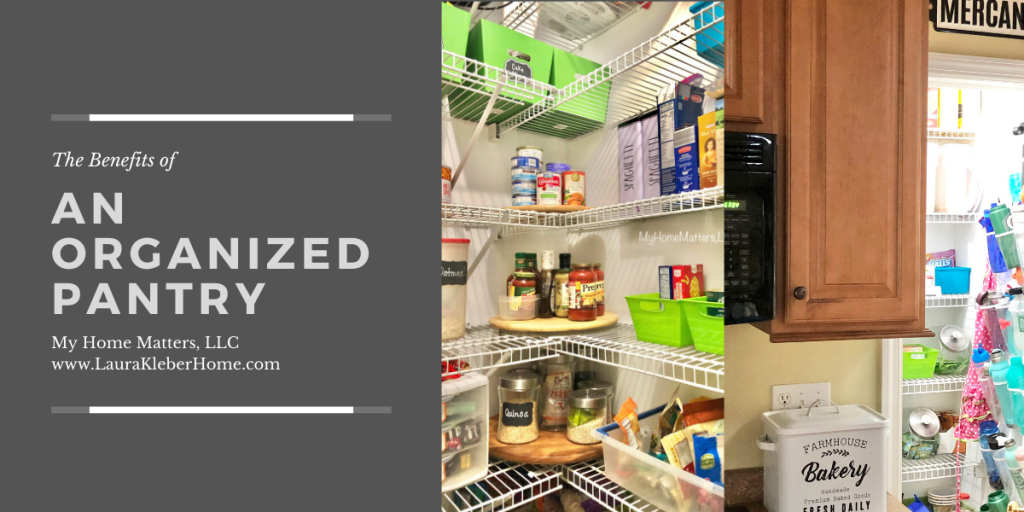 graphic showing different views of an organized pantry
