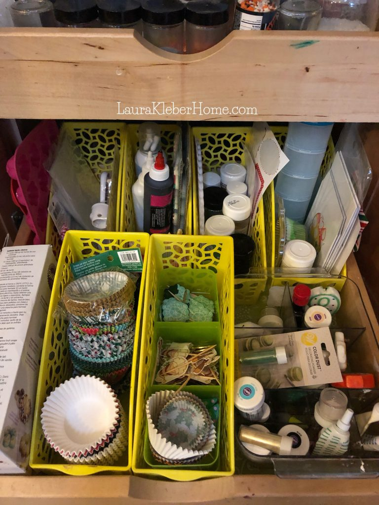 kitchen drawer with baking items