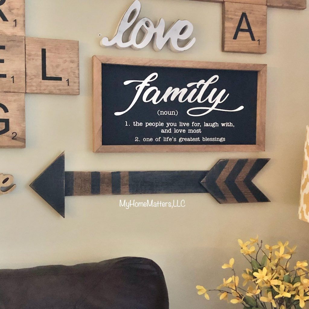 wall art including a sign about family and love