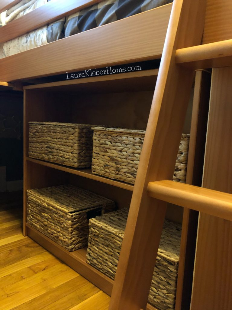 shelves with matching baskets on them
