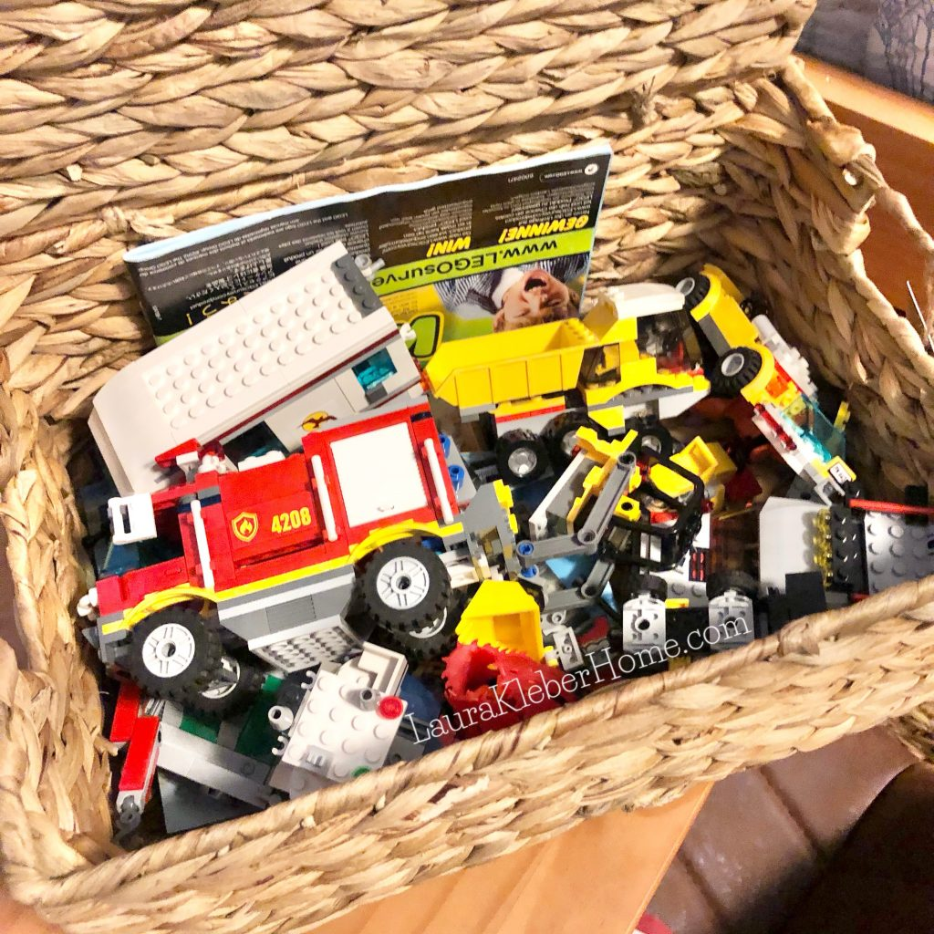 a bin filled with legos