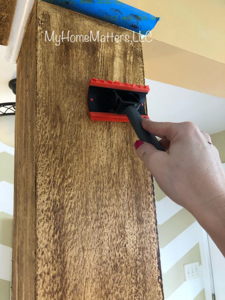 using a graining tool to make a wall look like wood