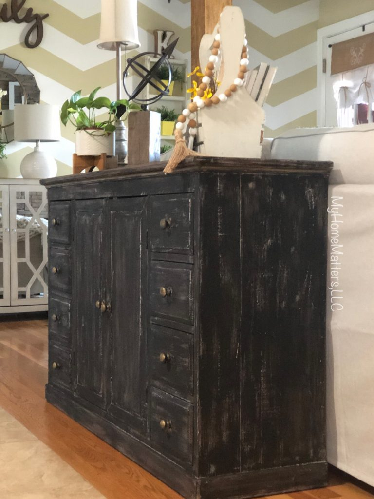 close up of newly painted console table in living room