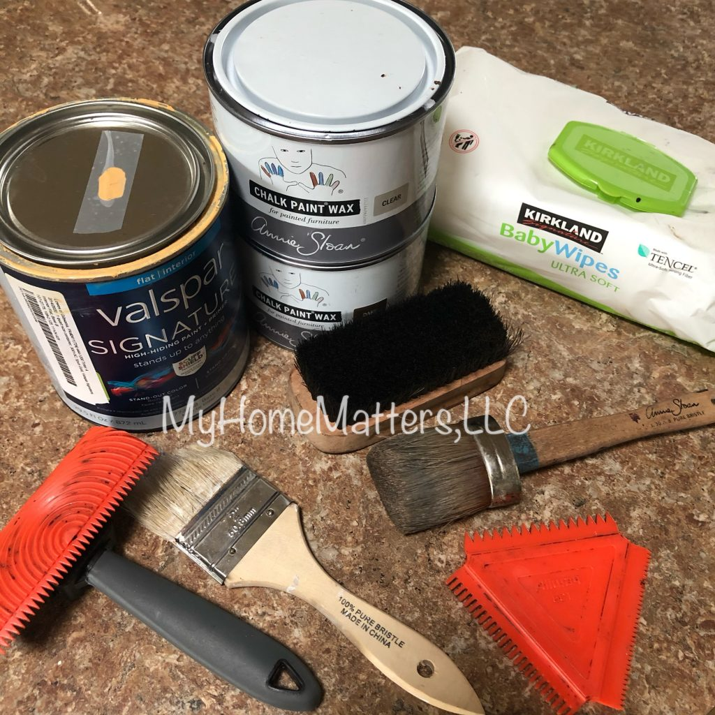 supplies needed for painting beams to look like wood