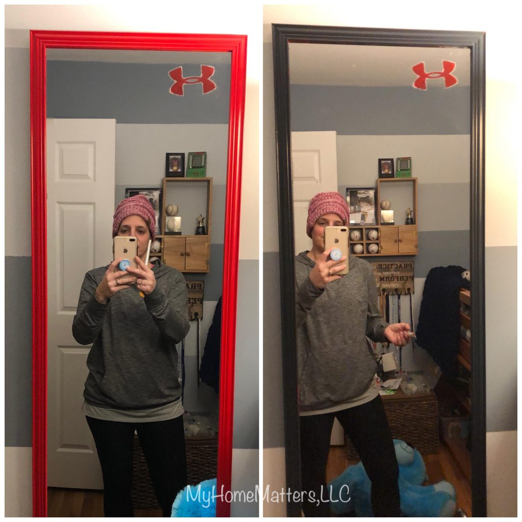 before and after of a painted mirror