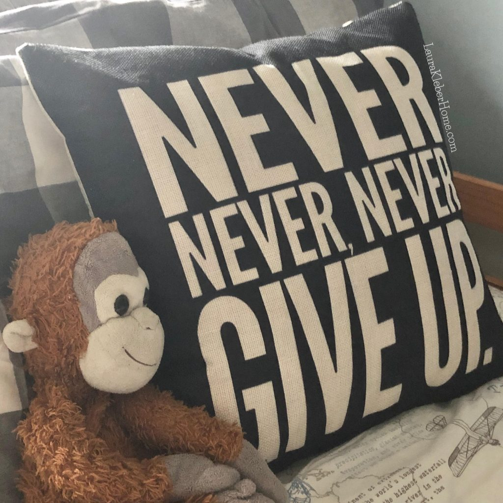 """throw pillow that says """"Never Never Never Give Up"""""""