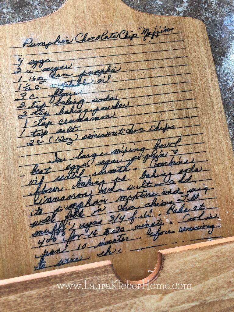 recipe after being transferred onto wood cutting board