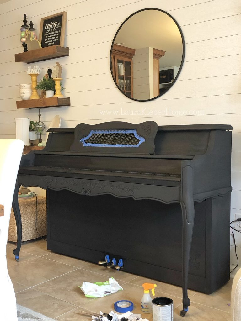 black painted piano