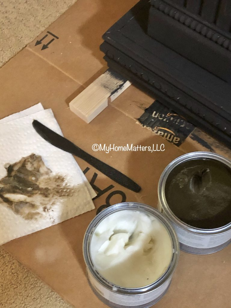 Annie Sloan furniture waxes being mixed together