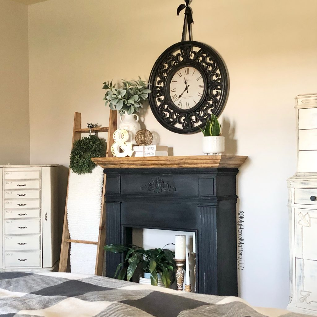 Annie Sloan Athenian Black used on a faux fireplace and clock