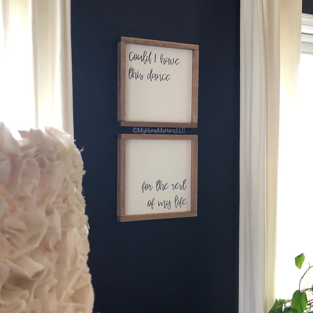 "custom farmhouse signs that say ""Could I have this dance"""