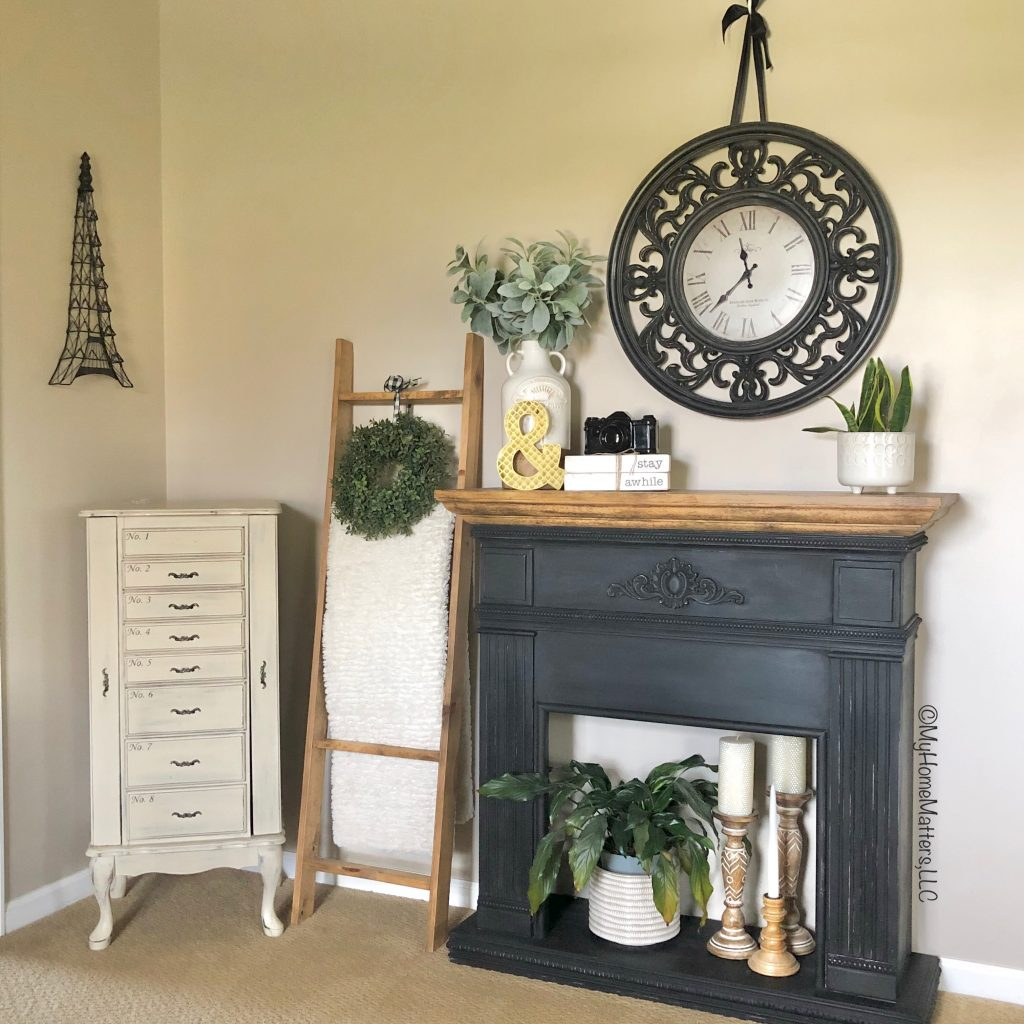 painted faux fireplace and jewelry armoire