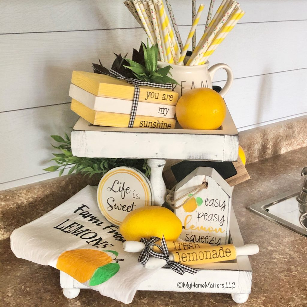 tiered tray with lemon decor