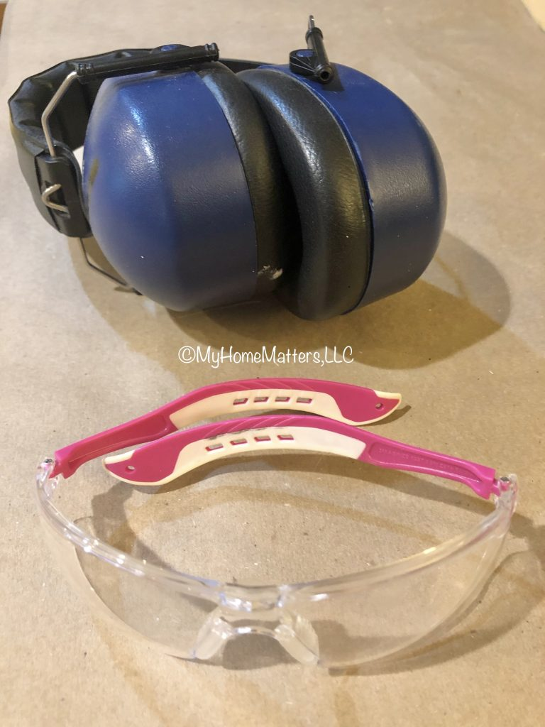 ear muffs for sound control and work goggles