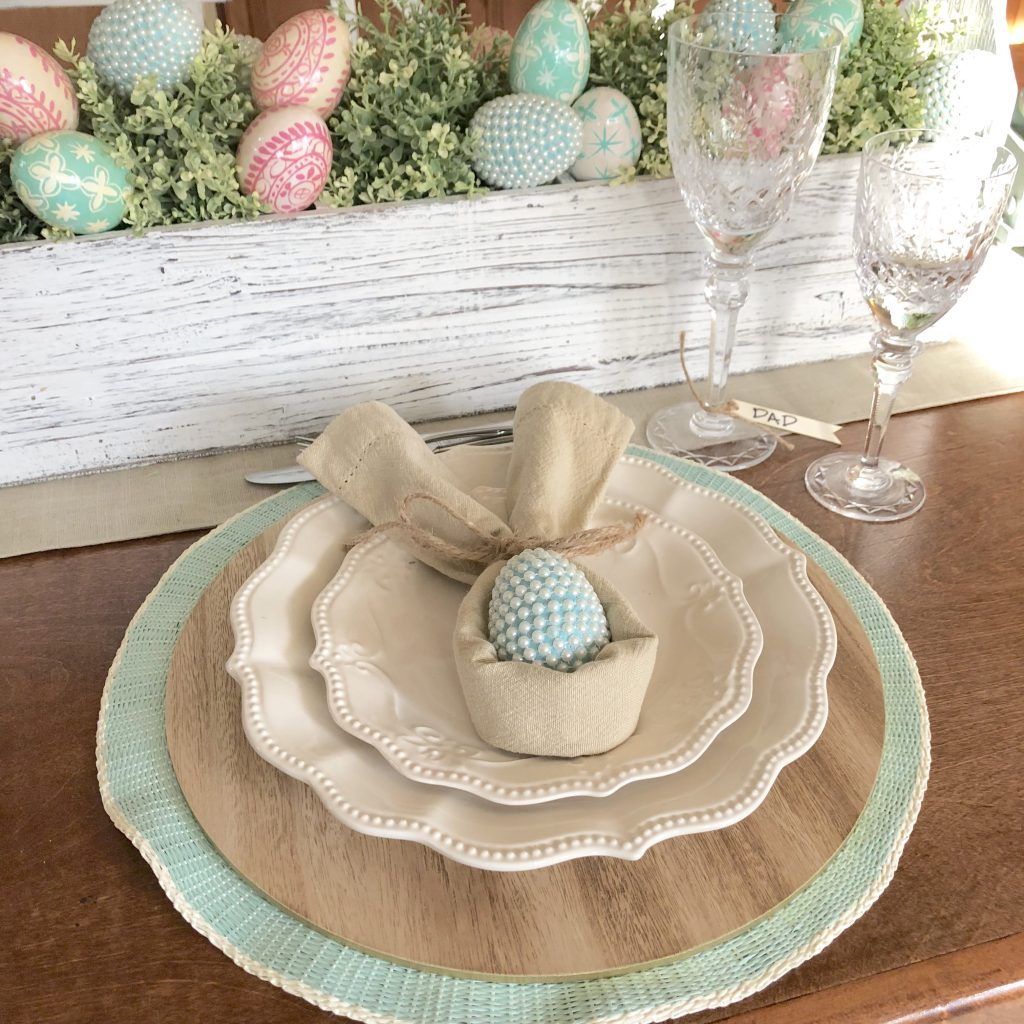 Easter placesetting with toolbox centerpiece