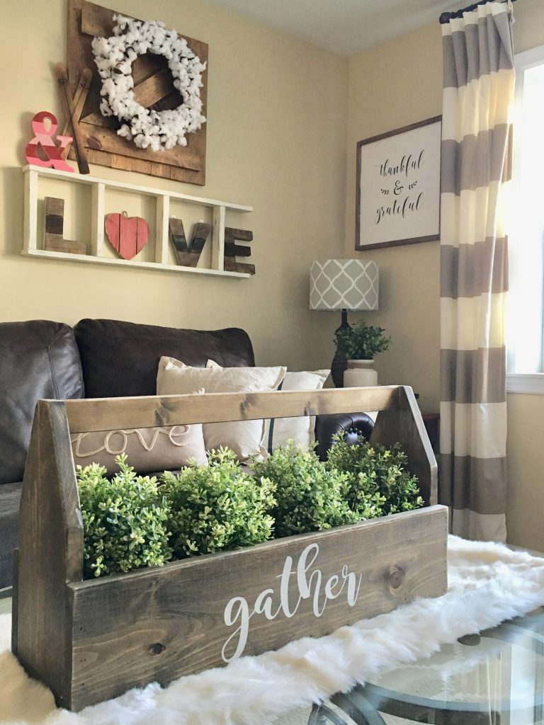 Living room coffee table with toolbox decor