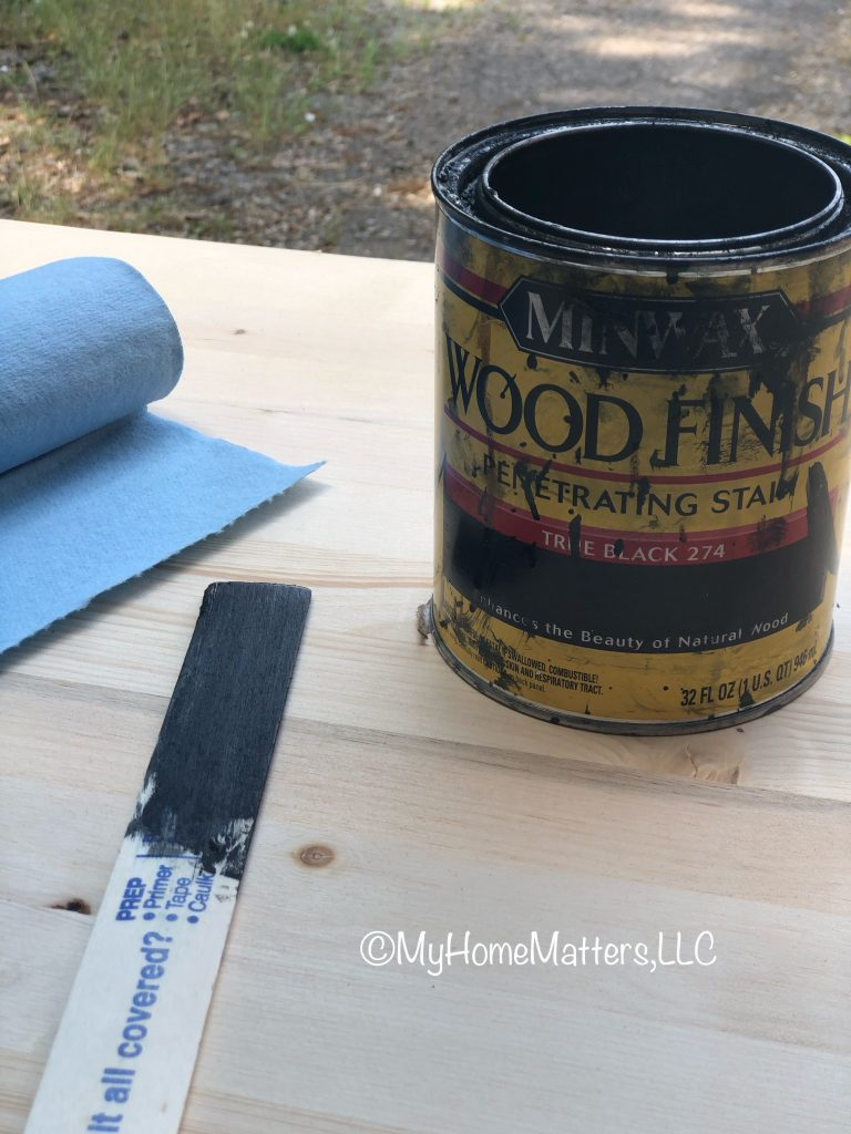 black stain can, wood and shop clothes
