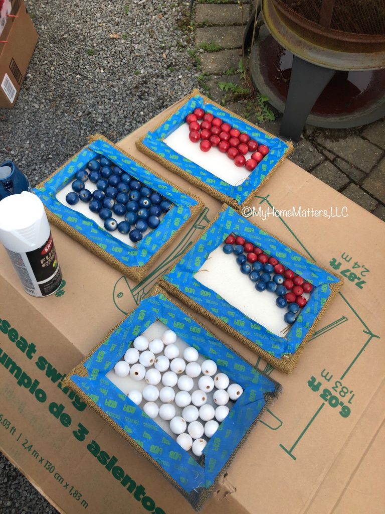 wooden beads separated into red white and blue