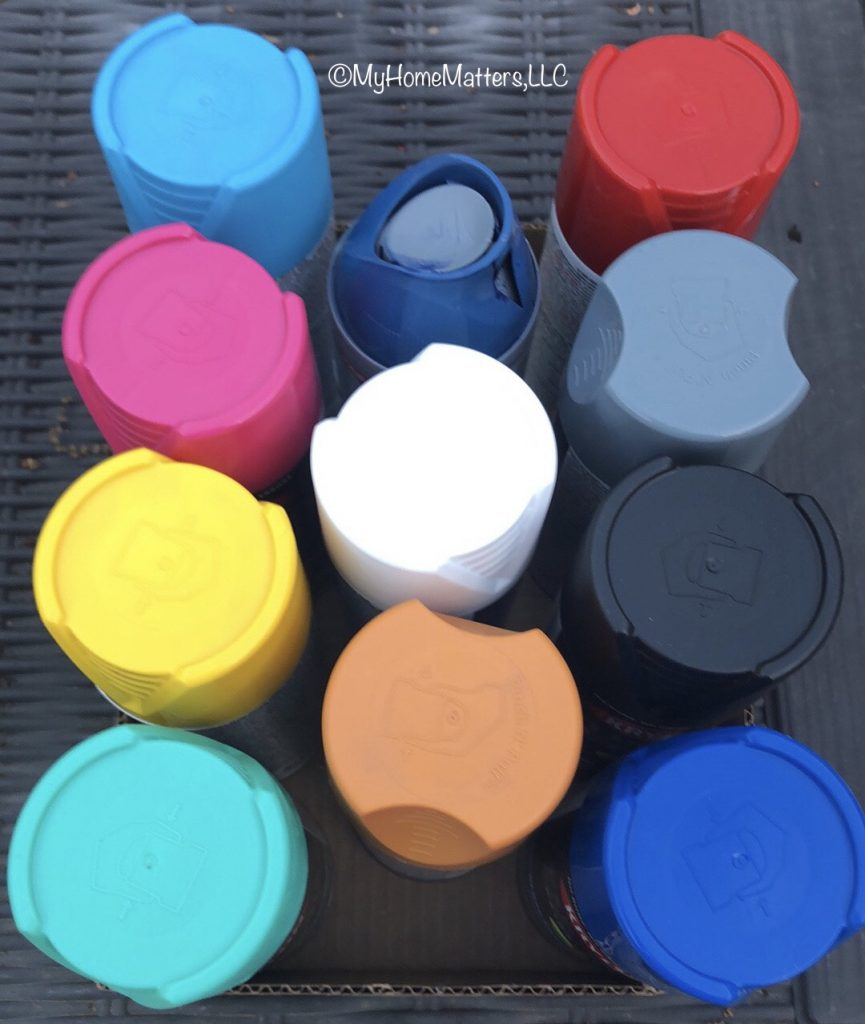 spray paint in bright colors