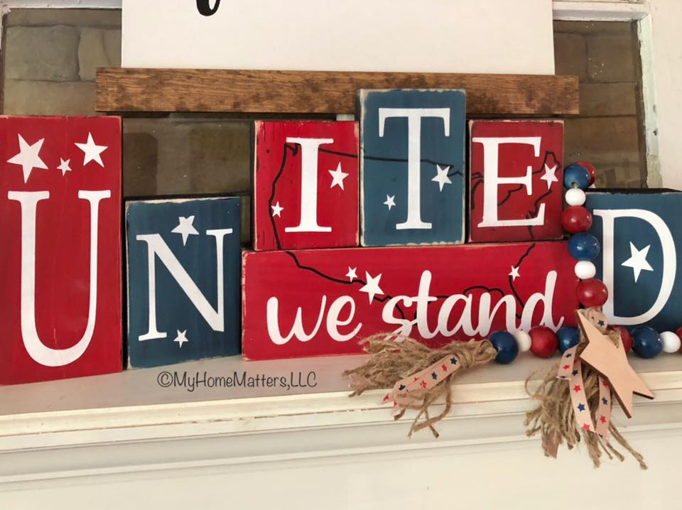 patriotic wooden letter blocks with matching beads