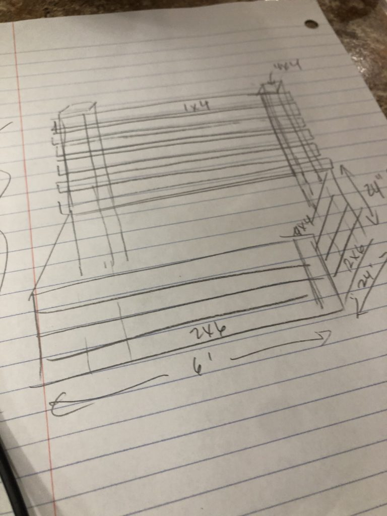sketch of our fence bench