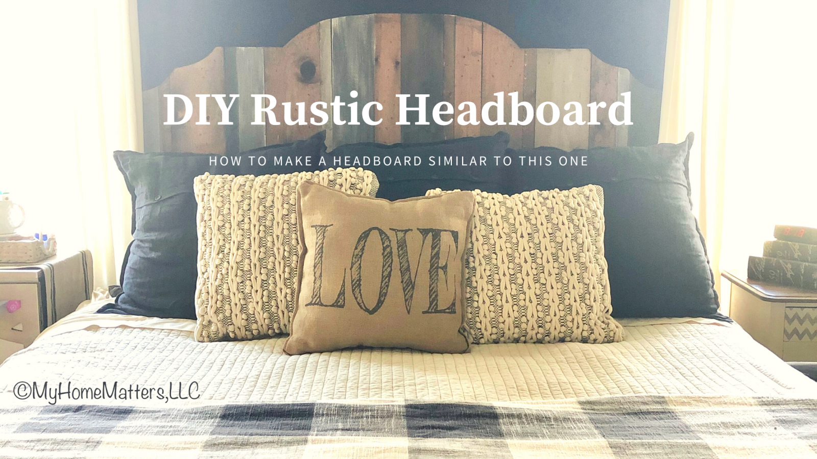 Planked Wooden Headboard in front of a black accent wall