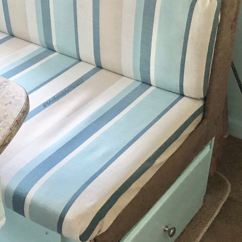striped fabric in a beachy relaxing blue stripe