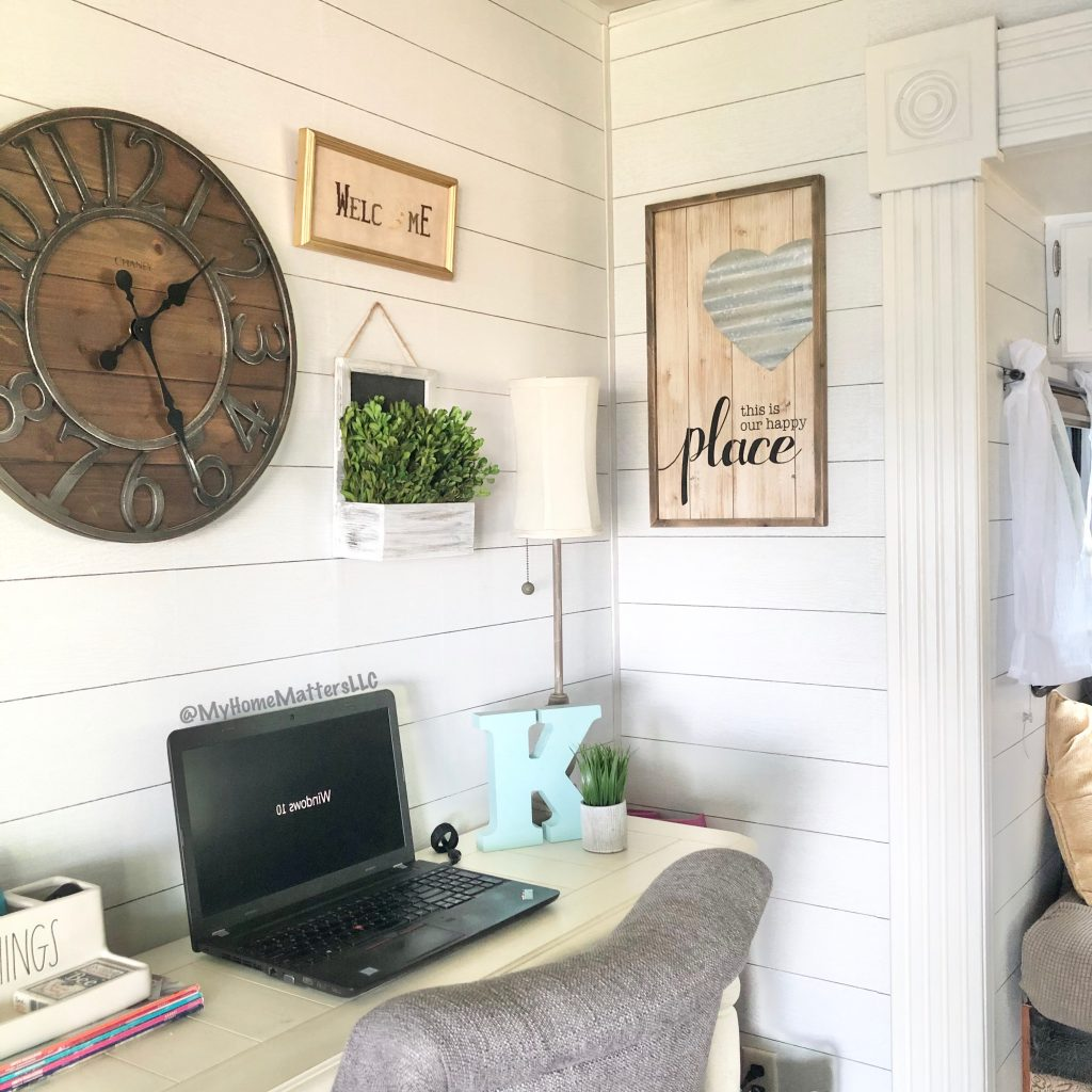shiplap wallpaper used on camper walls as part of a renovation